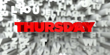 thursday: THURSDAY -  Red text on typography background - 3D rendered royalty free stock image. This image can be used for an online website banner ad or a print postcard.