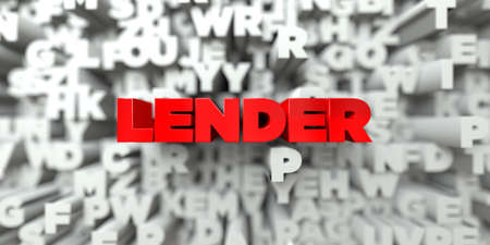 LENDER -  Red text on typography background - 3D rendered royalty free stock image. This image can be used for an online website banner ad or a print postcard.