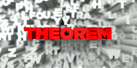 teorema: THEOREM -  Red text on typography background - 3D rendered royalty free stock image. This image can be used for an online website banner ad or a print postcard.