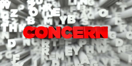 CONCERN -  Red text on typography background - 3D rendered royalty free stock image. This image can be used for an online website banner ad or a print postcard.