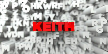 keith: KEITH -  Red text on typography background - 3D rendered royalty free stock image. This image can be used for an online website banner ad or a print postcard. Stock Photo