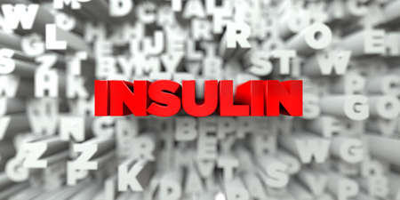 INSULIN -  Red text on typography background - 3D rendered royalty free stock image. This image can be used for an online website banner ad or a print postcard.