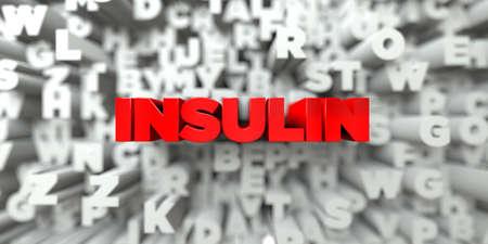 Insuline - Rode tekst op typografie achtergrond - afbeelding 3D royalty-vrije stock. Deze afbeelding kan worden gebruikt voor een online website banner advertentie of een afdruk briefkaart.