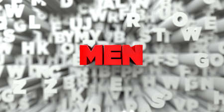 MEN -  Red text on typography background - 3D rendered royalty free stock image. This image can be used for an online website banner ad or a print postcard.