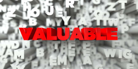 valuable: VALUABLE -  Red text on typography background - 3D rendered royalty free stock image. This image can be used for an online website banner ad or a print postcard.