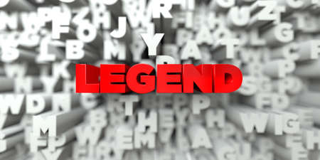 legend: LEGEND -  Red text on typography background - 3D rendered royalty free stock image. This image can be used for an online website banner ad or a print postcard. Stock Photo