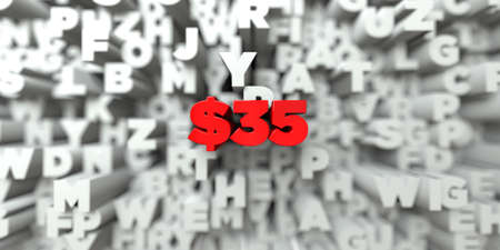 $35 -  Red text on typography background - 3D rendered royalty free stock image. This image can be used for an online website banner ad or a print postcard. Stock Photo