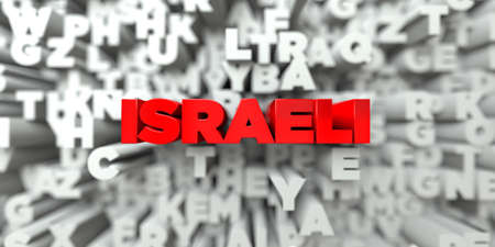 israeli: ISRAELI -  Red text on typography background - 3D rendered royalty free stock image. This image can be used for an online website banner ad or a print postcard. Stock Photo