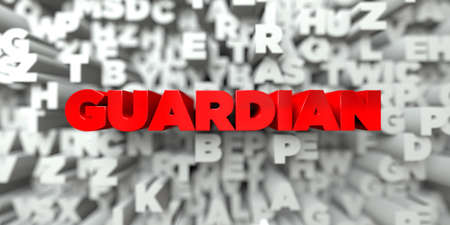 guardian: GUARDIAN -  Red text on typography background - 3D rendered royalty free stock image. This image can be used for an online website banner ad or a print postcard.