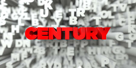 royalty: CENTURY -  Red text on typography background - 3D rendered royalty free stock image. This image can be used for an online website banner ad or a print postcard.