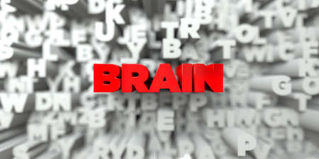 free the brain: BRAIN -  Red text on typography background - 3D rendered royalty free stock image. This image can be used for an online website banner ad or a print postcard. Stock Photo