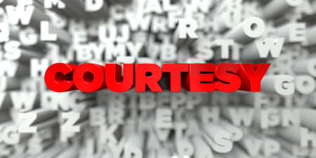 a courtesy: COURTESY -  Red text on typography background - 3D rendered royalty free stock image. This image can be used for an online website banner ad or a print postcard.