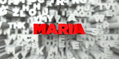 maria: MARIA -  Red text on typography background - 3D rendered royalty free stock image. This image can be used for an online website banner ad or a print postcard.