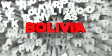 BOLIVIA -  Red text on typography background - 3D rendered royalty free stock image. This image can be used for an online website banner ad or a print postcard.