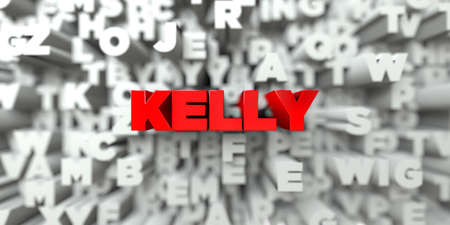 kelly: KELLY -  Red text on typography background - 3D rendered royalty free stock image. This image can be used for an online website banner ad or a print postcard.