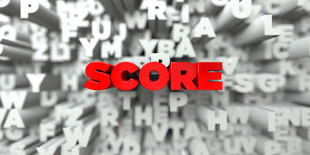 single word: SCORE -  Red text on typography background - 3D rendered royalty free stock image. This image can be used for an online website banner ad or a print postcard.