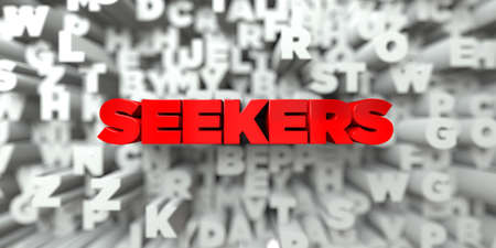 free stock: SEEKERS -  Red text on typography background - 3D rendered royalty free stock image. This image can be used for an online website banner ad or a print postcard.