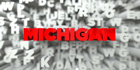 free stock: MICHIGAN -  Red text on typography background - 3D rendered royalty free stock image. This image can be used for an online website banner ad or a print postcard. Stock Photo