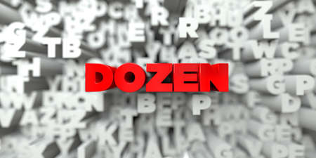 dozen: DOZEN -  Red text on typography background - 3D rendered royalty free stock image. This image can be used for an online website banner ad or a print postcard.