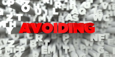 avoiding: AVOIDING -  Red text on typography background - 3D rendered royalty free stock image. This image can be used for an online website banner ad or a print postcard.