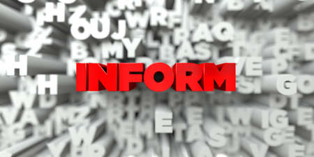 INFORM -  Red text on typography background - 3D rendered royalty free stock image. This image can be used for an online website banner ad or a print postcard. Stock Photo