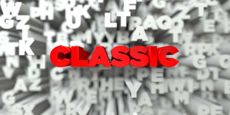 sentence typescript: CLASSIC -  Red text on typography background - 3D rendered royalty free stock image. This image can be used for an online website banner ad or a print postcard.