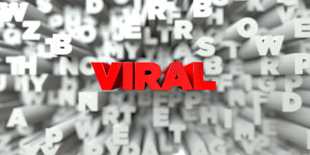 royalty: VIRAL -  Red text on typography background - 3D rendered royalty free stock image. This image can be used for an online website banner ad or a print postcard. Stock Photo