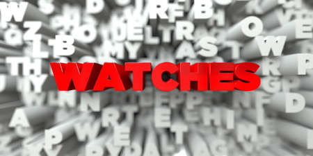 WATCHES -  Red text on typography background - 3D rendered royalty free stock image. This image can be used for an online website banner ad or a print postcard.