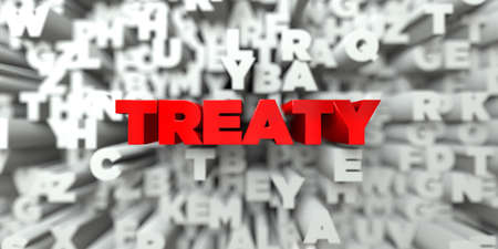 treaty: TREATY -  Red text on typography background - 3D rendered royalty free stock image. This image can be used for an online website banner ad or a print postcard.