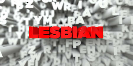 stock image: LESBIAN -  Red text on typography background - 3D rendered royalty free stock image. This image can be used for an online website banner ad or a print postcard. Stock Photo