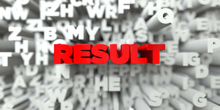 stock image: RESULT -  Red text on typography background - 3D rendered royalty free stock image. This image can be used for an online website banner ad or a print postcard.