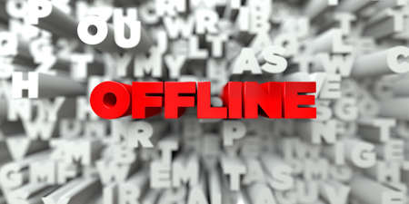 stock image: OFFLINE -  Red text on typography background - 3D rendered royalty free stock image. This image can be used for an online website banner ad or a print postcard. Stock Photo