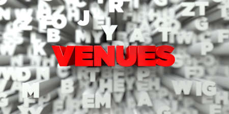 venues: VENUES -  Red text on typography background - 3D rendered royalty free stock image. This image can be used for an online website banner ad or a print postcard. Stock Photo