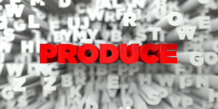 produce: PRODUCE -  Red text on typography background - 3D rendered royalty free stock image. This image can be used for an online website banner ad or a print postcard.