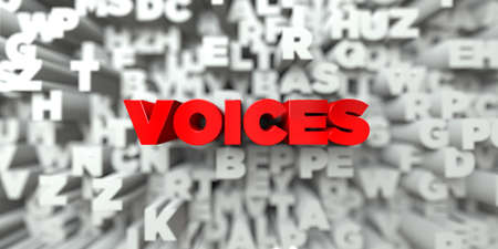 voices: VOICES -  Red text on typography background - 3D rendered royalty free stock image. This image can be used for an online website banner ad or a print postcard. Stock Photo