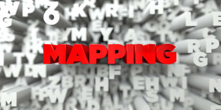 mapping: MAPPING -  Red text on typography background - 3D rendered royalty free stock image. This image can be used for an online website banner ad or a print postcard.