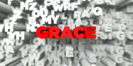 royalty: GRACE -  Red text on typography background - 3D rendered royalty free stock image. This image can be used for an online website banner ad or a print postcard.