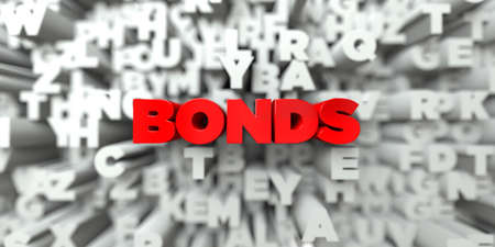bonds: BONDS -  Red text on typography background - 3D rendered royalty free stock image. This image can be used for an online website banner ad or a print postcard.