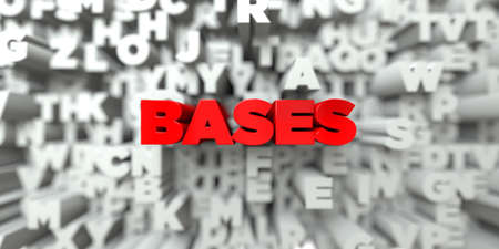 bases: BASES -  Red text on typography background - 3D rendered royalty free stock image. This image can be used for an online website banner ad or a print postcard. Stock Photo