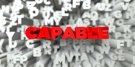 capable: CAPABLE -  Red text on typography background - 3D rendered royalty free stock image. This image can be used for an online website banner ad or a print postcard. Stock Photo