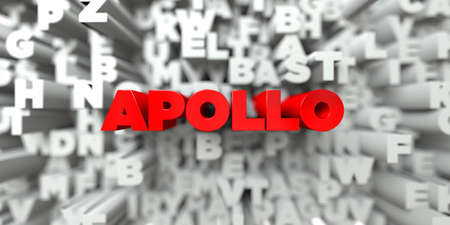 APOLLO -  Red text on typography background - 3D rendered royalty free stock image. This image can be used for an online website banner ad or a print postcard.