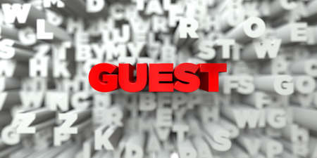 guest: GUEST -  Red text on typography background - 3D rendered royalty free stock image. This image can be used for an online website banner ad or a print postcard.