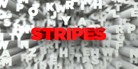 stock image: STRIPES -  Red text on typography background - 3D rendered royalty free stock image. This image can be used for an online website banner ad or a print postcard.