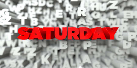 stock image: SATURDAY -  Red text on typography background - 3D rendered royalty free stock image. This image can be used for an online website banner ad or a print postcard. Stock Photo