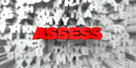 assess: ASSESS -  Red text on typography background - 3D rendered royalty free stock image. This image can be used for an online website banner ad or a print postcard.