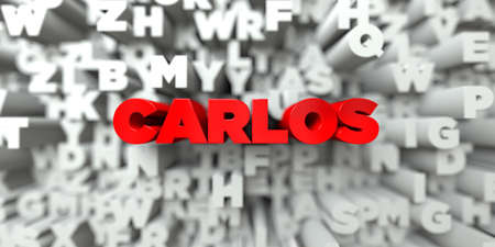royalty: CARLOS -  Red text on typography background - 3D rendered royalty free stock image. This image can be used for an online website banner ad or a print postcard.