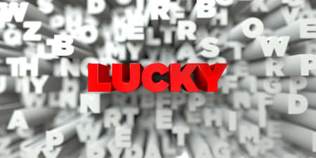 free stock: LUCKY -  Red text on typography background - 3D rendered royalty free stock image. This image can be used for an online website banner ad or a print postcard. Stock Photo
