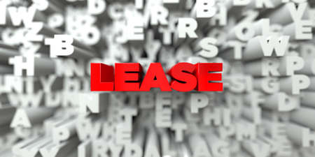 lease: LEASE -  Red text on typography background - 3D rendered royalty free stock image. This image can be used for an online website banner ad or a print postcard.
