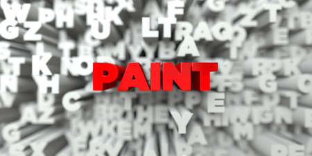 PAINT -  Red text on typography background - 3D rendered royalty free stock image. This image can be used for an online website banner ad or a print postcard.
