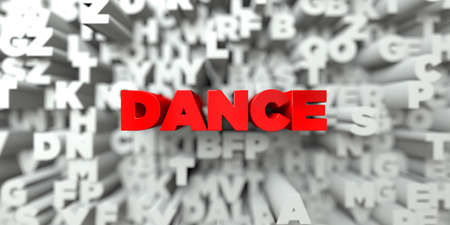 DANCE -  Red text on typography background - 3D rendered royalty free stock image. This image can be used for an online website banner ad or a print postcard.